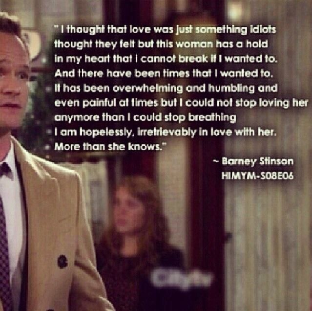 Himym Love Quotes Inspiration How I Met Your Mother Barney Says Love You To Robin 48