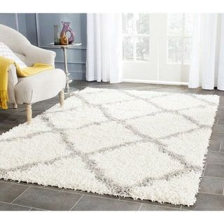 Shop for Safavieh Dallas Shag Ivory/ Grey Trellis Rug (6' x 9'). Get free shipping at Overstock.com - Your Online Home Decor Outlet Store! Get 5% in rewards with Club O!