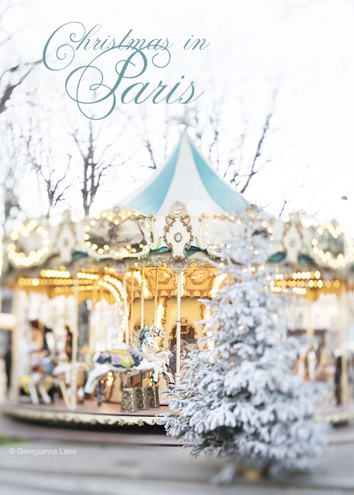 Christmas in Paris by Georgianna Lane: Carousel and flocked trees on the Champs-Élysées