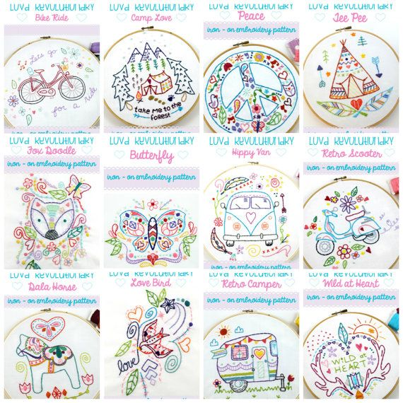 Iron On Embroidery Patterns - $7.00 each
