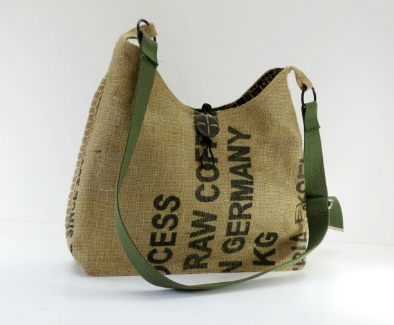 Burlap Crossbody Bag Leopard Lining, Upcycled Coffee Bag, Repurposed Recycled