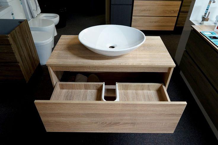 EDEN 900mm White Oak Timber Look Wood Grain Vanity w Towel Shelf & Timber Top in Home & Garden, Building Materials & DIY, Plumbing & Fixtures, Sinks, Basins | eBay