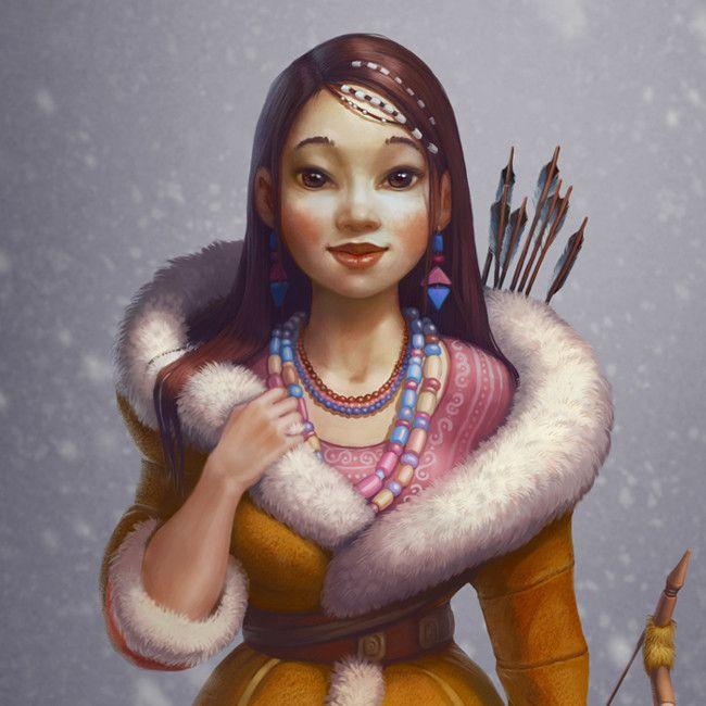 Inuit girl, Alena Khandryka on ArtStation at https://www.artstation.com/artwork/E2r64