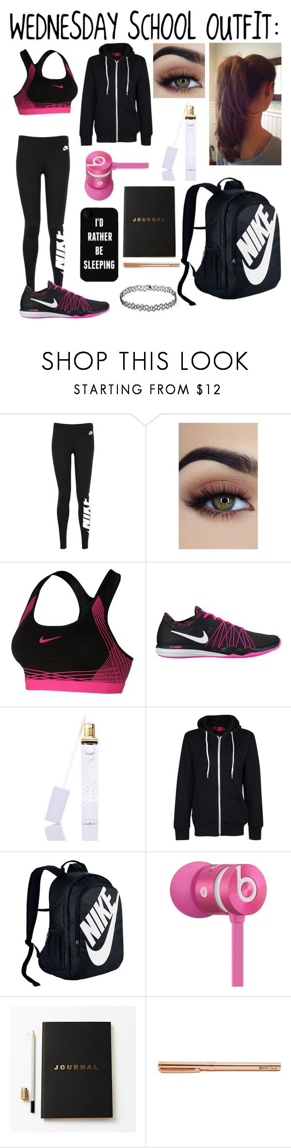 """Wednesday school outfit! :3"" by yourlittledemonx3 on Polyvore featuring NIKE, Winky Lux, Boohoo, Beats by Dr. Dre and Katie Leamon"