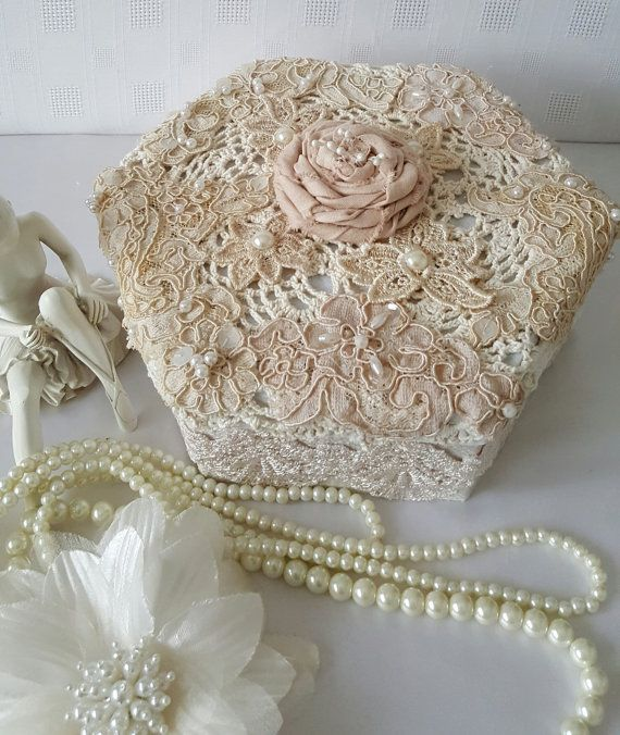 Vintage Shabby Chic Wedding Card Box-Elegant by Chiclaceandpearls