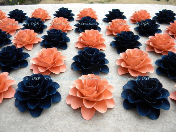 Wedding Paper Flowers Peach Coral Navy Blue Flowers For Table