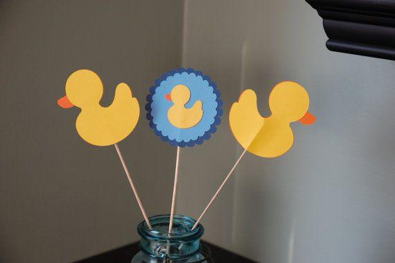 Centros de pato de goma pato Baby Shower cumpleaños por GiggleBees