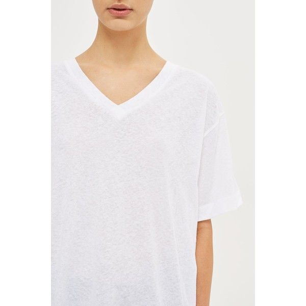 Linen v-Neck T-Shirt by Boutique (€28) ❤ liked on Polyvore featuring tops, t-shirts, white, white linen t shirt, white tees, v neck t shirts, relaxed fit t shirt and white t shirt