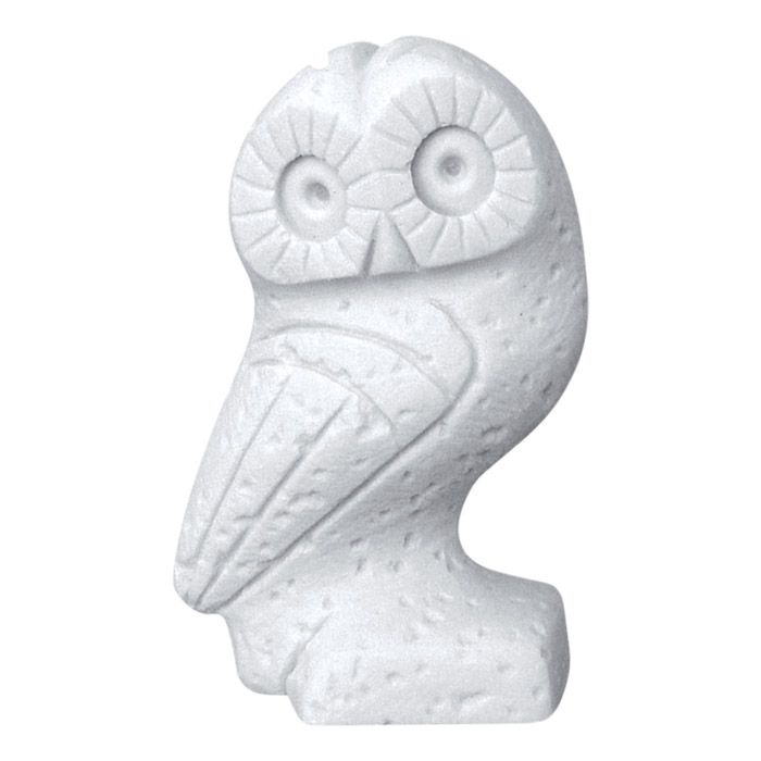 Owl, the sacred bird of Goddess Athena and a symbol of wisdom and knowledge. The greek myths and the athenian tetradrachm were our guide for the creation of this unique sculpture. 449-419 B.C., Athens. Dimensions: 6 cm x 9,5 cm x 5 cm Statue, made of casted alabaster.