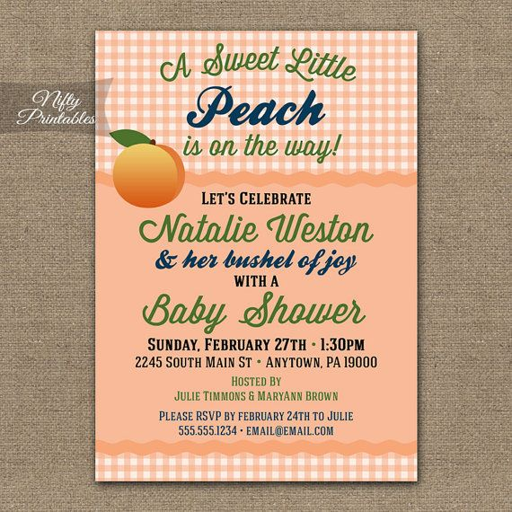 Peach Baby Shower Invitations - Printable Gender Neutral Coral Shower Invites - Country Boy Baby Shower - Rustic Girl Baby Shower Invitation