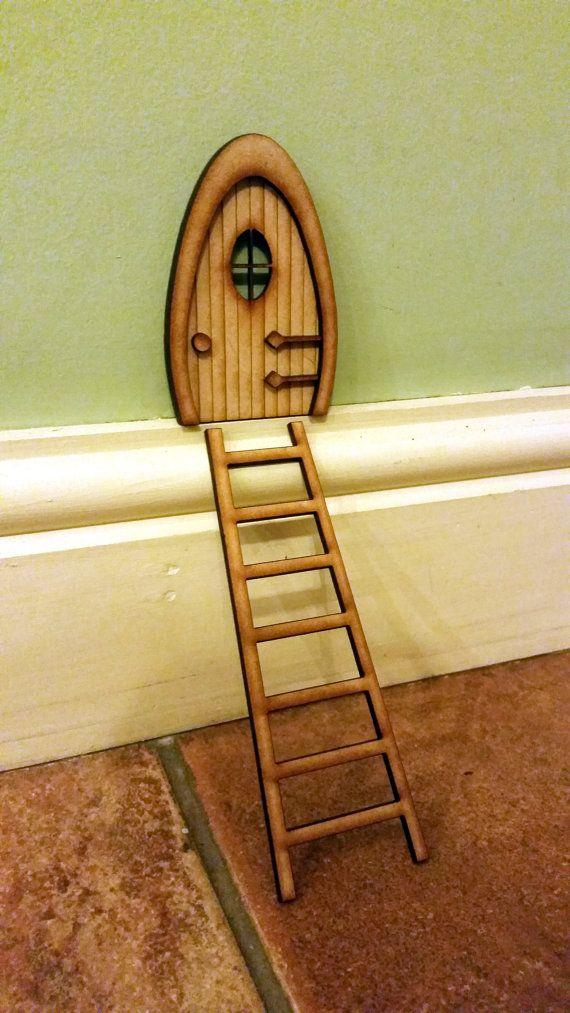 1 x Laser Cut Fairy Pixie Elf Door Stairs 3mm Plywood Craft Ladder