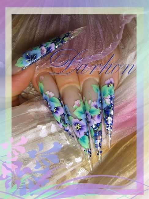 Nail Art Gallery - blue bouquet