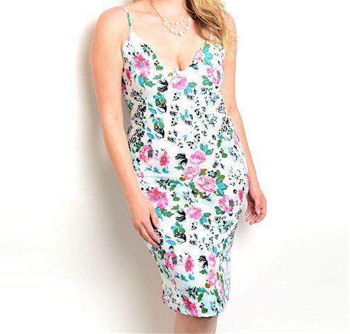 Plus+Size+Floral+Sheath+Dress