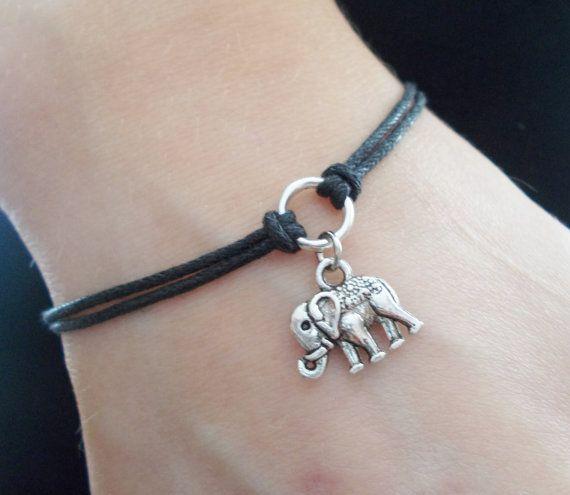 elephant bracelet cord bracelet elephant jewellery silver