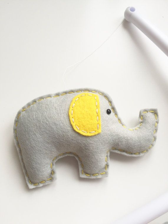 Elephant & Clouds Musical Cot Mobile Baby by xCrazyLittleCraftsx