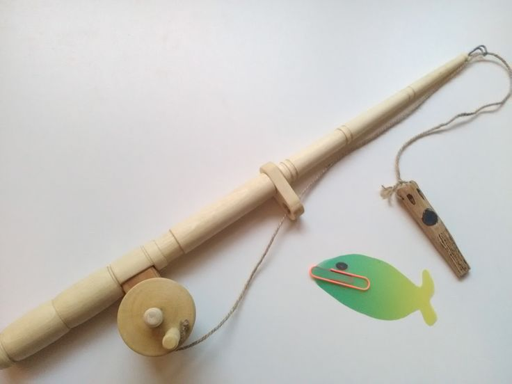 Handmade Beech wood kids fishing game