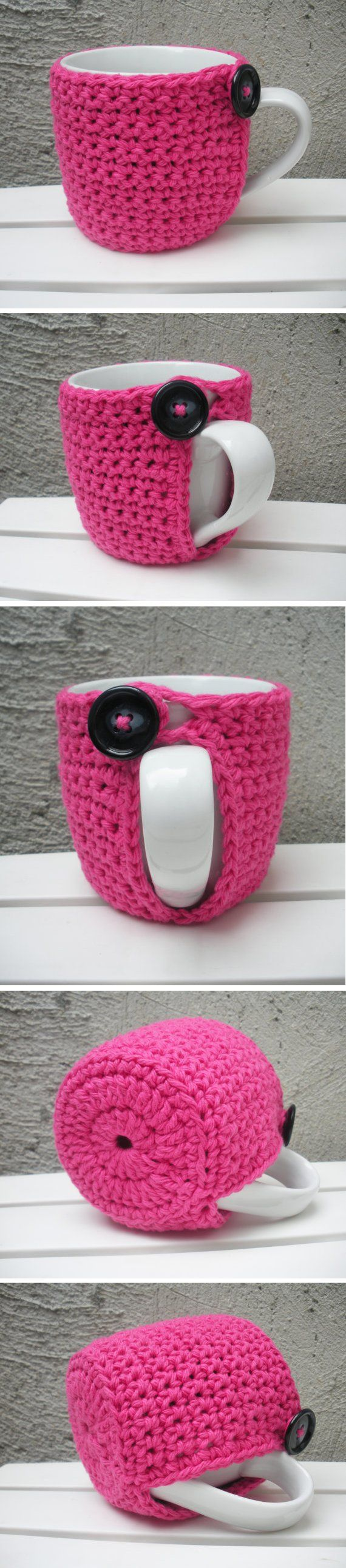 Crocheted mug cozy *Inspiration* - If you are having friends over for coffee or tea, make these in lots of different colors so everyone can keep track of their drink OR make them all the same (whatever colors go with your theme) and add their initials or name. Let your guests take them home.