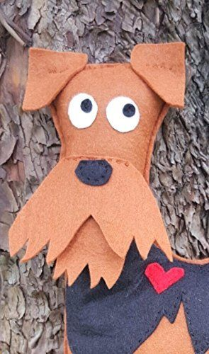 Adorable Airedale Terrier Pillow. Adorable Airedale Terrier felt pillow. Baby nursery decor. Would also be great in a kids bedroom. designed, hand cut, hand and machine stitched by me in my smoke and pet hair free home. Not made to be roughly played with, and is perfect for hugging! Do you have an animal lover on your gift list? Measures 18 inches tall. Listing is for one pillow.