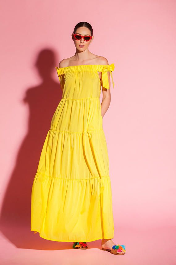 e2bce2ad204 Yellow maxi dress  boho dress  Trendy Plus size clothing