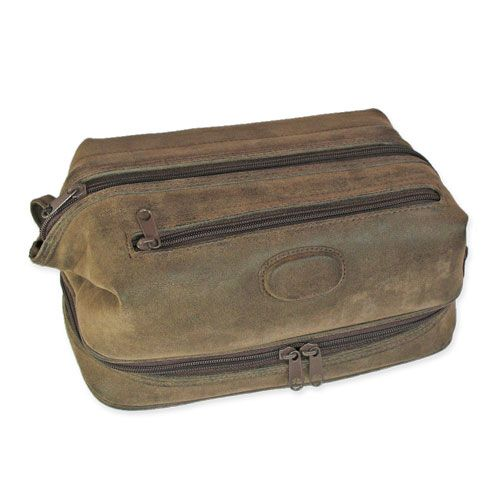 A large toiletry case for men with 3 zippers made from a dark brown faux suede. The main zipper at the top opens fully to provide ease of access to all the items stored in the bag. There is also a zippered pocket on the side for quick access to smaller items, as well as […]