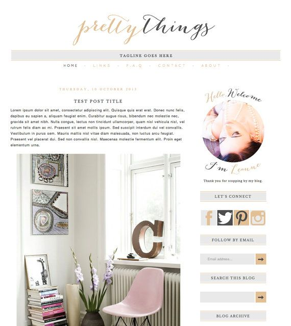 Blogger Template Blog Theme Pretty Things // by BrandMeBeautiful
