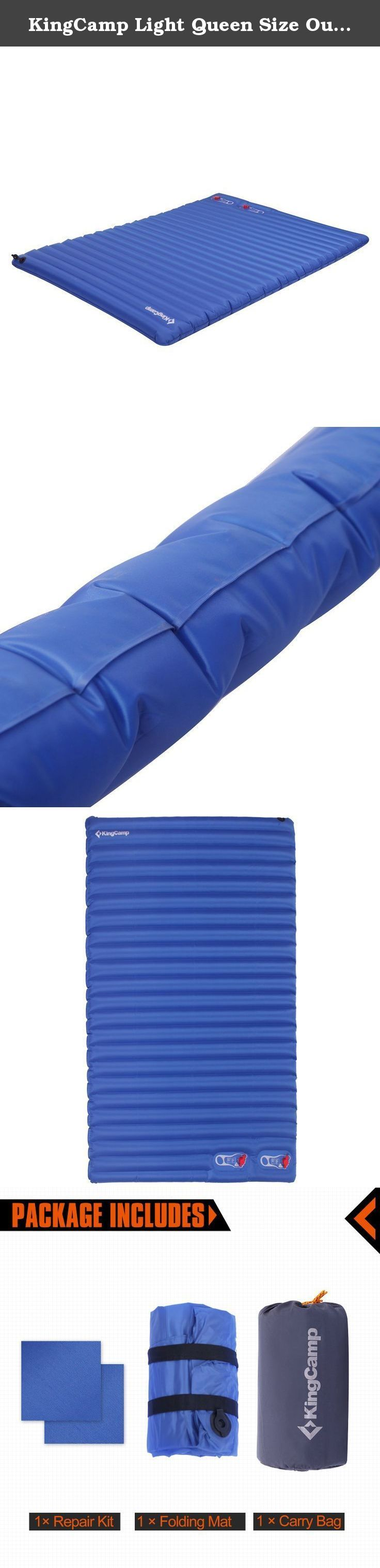 KingCamp Light Queen Size Outdoor Camping Air Mattress Mat Pad Bed with Built-in Foot Pump. It is coated with a high quality polyester laminate which helps prevent stretching and gives a strong yet comfortable foundation for sleeping. The motility and functionality it offers will make any camper a happy travel. The built in foot pump is faster and efficient, eliminating the need for a power source, or charging batteries like some other mats. This mat is also waterproof and puncture…