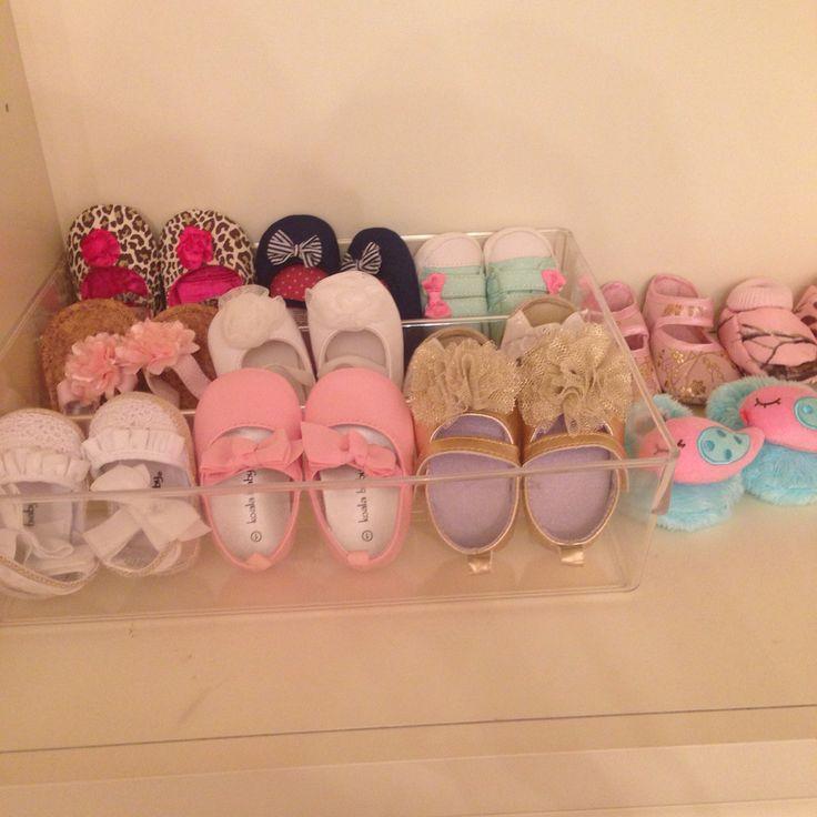 Diy baby shoe rack! Just use a plastic drawer organizer!