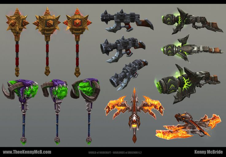 WoW: WoD - 6.2 Weapons, Kenny McBride on ArtStation at https://www.artstation.com/artwork/wow-wod-6-2-weapons