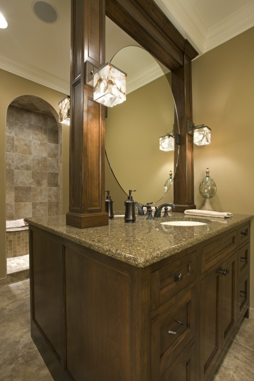 Double sided (his/her) vanity?  Unique.: Design Ideas, Dream, Bathroom Vanities, Bathroom Designs, Bathrooms Ideas, Bathroom Ideas, Photo, Beautiful Bathrooms, Master Bathroom