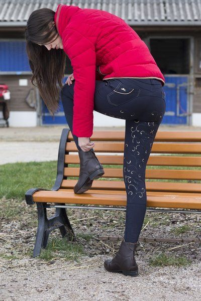 """Pantaloniì equitazione donna a vita alta  Equi-thème """"Arabesque"""" per monta inglese, estremamente confortevoli con una cintura rialzata sul retro, tessuto elasticizzato che offre un massimo comfort."""