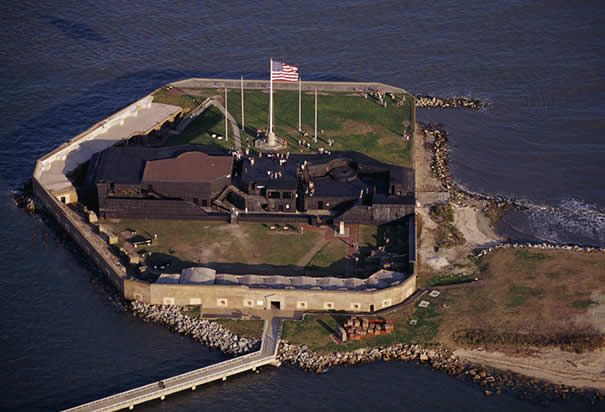 Aerial View of Fort Sumter: Located in the harbor of Charleston, South Carolina, Fort Sumter was the site of the first engagement of the Civil War on April 12, 1861. (Photo Credit: Bob Krist/CORBIS)