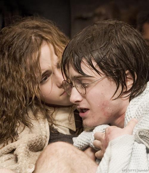 """""""— Muito bem, Harry! — exclamou Hermione — Você conseguiu, você descobriu como conseguir, sozinho!   — Bem... — disse Harry. Ele teria contado a ela sobre Dobby, mas acabara de notar que Karkaroff o observava. Era o único juiz que não abandonara a mesa, o único juiz que não dava sinais de satisfação nem alívio que Harry, Rony e a irmã de Fleur tivessem voltado sãos e salvos — É, é verdade — disse Harry, levantando ligeiramente a voz para Karkaroff poder ouvi-lo."""" Cap. 26"""