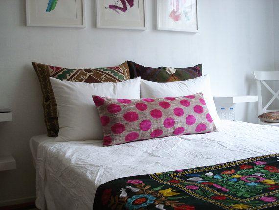 sukan soft hand woven long silk velvet ikat pillow cover 14x32 inch