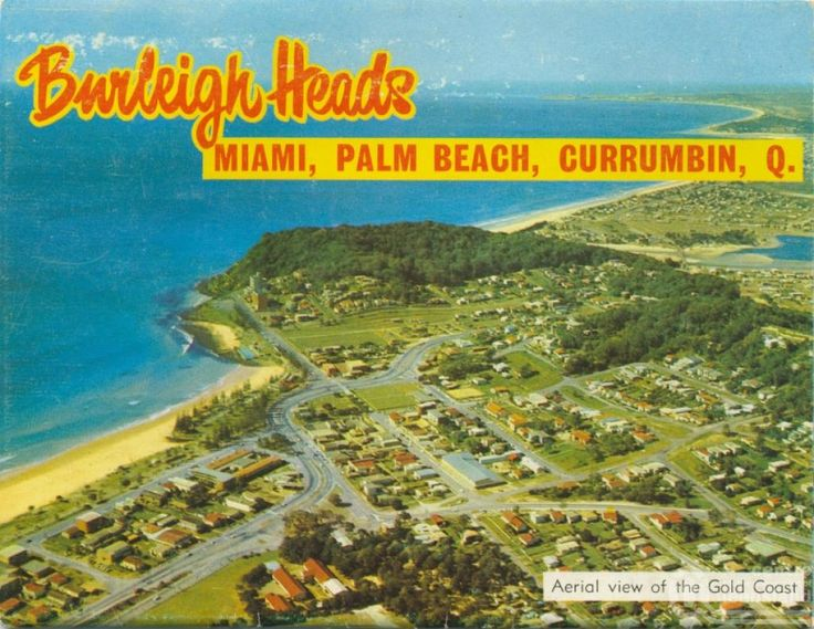 Aerial View of the Gold Coast, c1980. Postcard folder by Murray Views Pty Ltd, collection of Centre for the Government of Queensland.