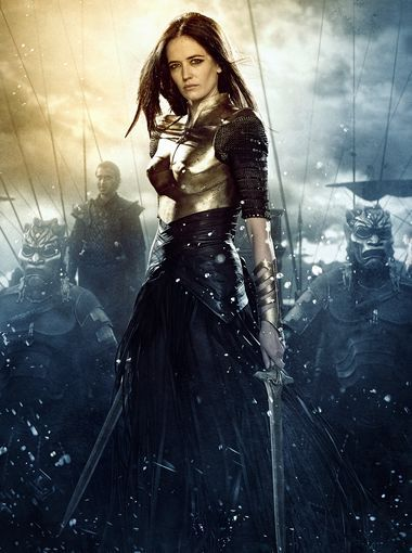 Artemisia (Eva Green) dresses the part of warrior in a bronze breastplate, mesh sleeves and bronze cuffs. She's girded for battle with leath...