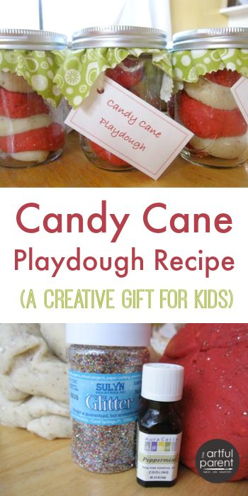 Make homemade candy cane playdough with this recipe and tutorial. This playdough makes a great Christmas gift for kids, especially when packaged this way.
