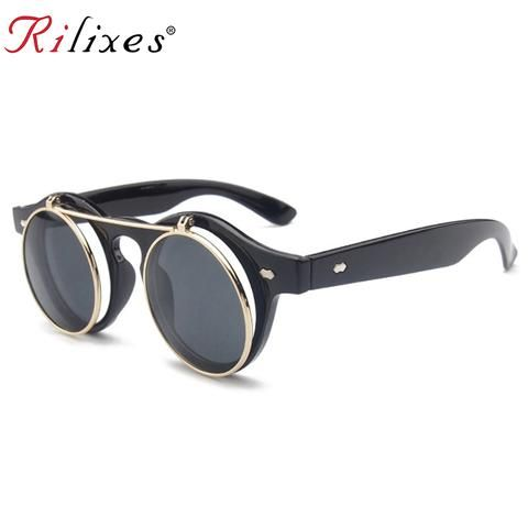 ae489ee666 RILIXES New Arrival Steampunk Sunglasses Women Men Square Double Flip Lens  Cover Punk Sun Glasses Clear HD Gradient Shades