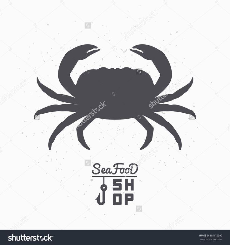 Crab Silhouette. Seafood Shop Logo Branding Template For Craft Food Packaging Or Restaurant Design. Vector Illustration - 365172992 : Shutterstock