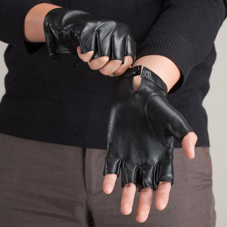 Black leather gloves  ______ Gloves Mittens 2015 Fashion Unisex Genuine Leather Fingerless Gloves Motorcycle Half Finger Driving Glove Free Shipping