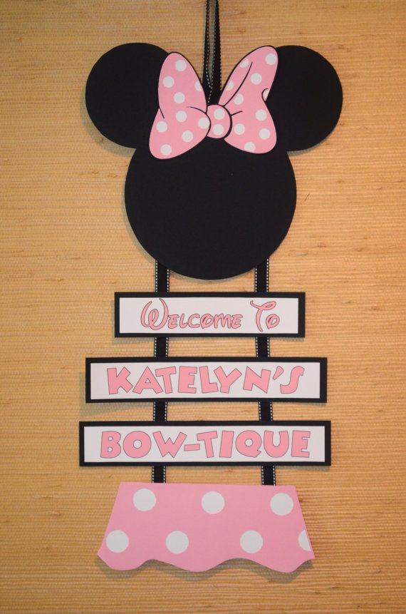 Minnie Mouse Inspired Welcome Door Sign, Birthday Welcome Sign on Etsy, $17.00