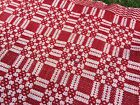 Antique Coverlet Red White Early Overshot Wool Lin…