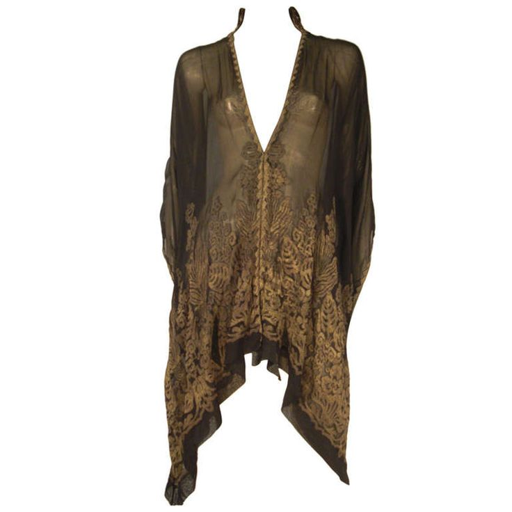 """1920s """"Fortuny"""" Style Lame Woven Chiffon Jacket w/ Wired High Collar"""