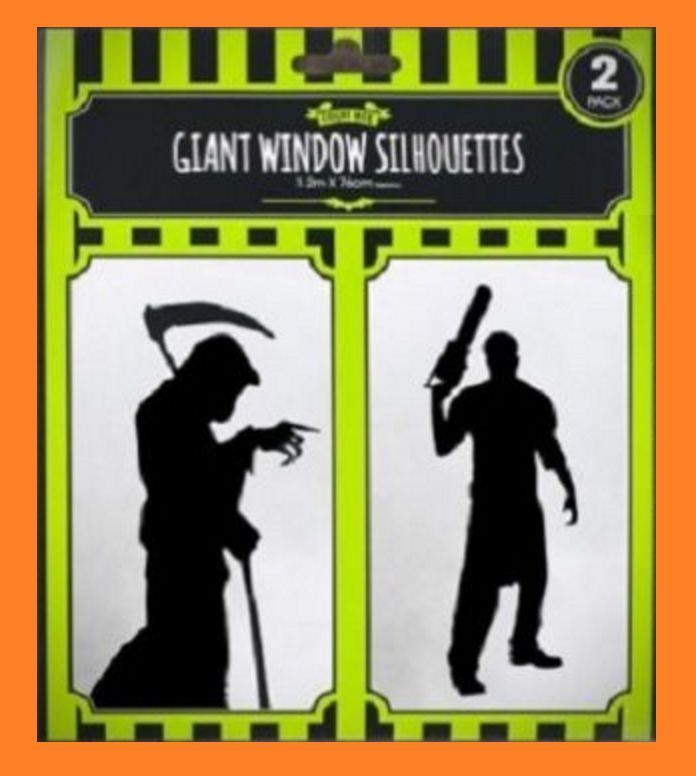 2 Pack NEW GIANT HALLOWEEN WINDOW SCARY SILHOUETTES PARTY DECOR HORROR STICKERS