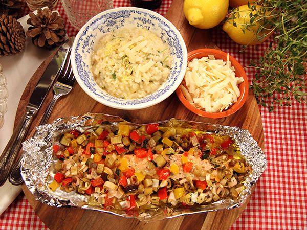 Citronrisotto med ugnsbakad lax och grönsaker