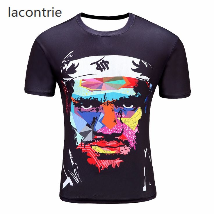 Harajuku style man T-shirt hip-hop street 3D street live picture LeBron James abstract fashion novelty short-sleeved clothes 23