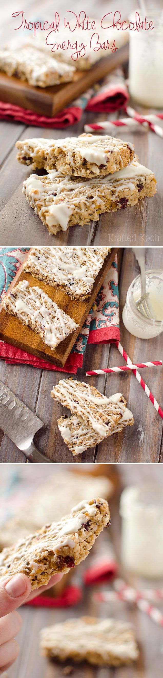 Tropical White Chocolate Energy Bars - Krafted Koch - Loaded with healthy grains, nut butter, coconut, macadamia nuts and sweet dried fruits all drizzled with white chocolate for a balanced energy bar that is decadently delicious!