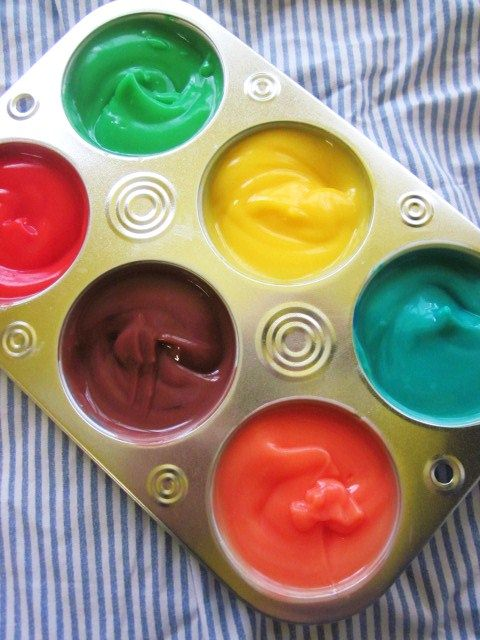 Love this great idea for toddler finger paint!Food Colors, Fingers Painting, Craft Sticks, Puddings Fingers, Painting Brushes, Kids, Paint Brushes, Toddlers Puddings, Crafts Sticks