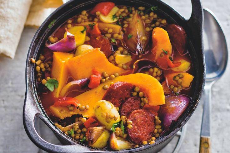 Pompoen op de Spaanse toer met chorizo, paprika en tomaat - Pompoenstoof - Recept - Allerhande