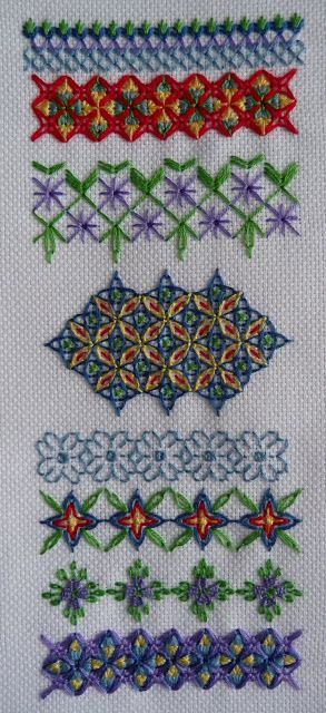 "A lovely sampler based on    ""Wessex Stitchery"" by Gay Eaton from the blog (linked by this pin) ""Mary Joan Stitching. Blog post on her main page talks about this fascinating style of stitching, revived by Eaton's book, which I are have  LOVE!!!  Very interesting new stitches  to work up, easy to design your own band samplers, needlecases, pillow tops... Projects are well presented and easy to design w/ your own selection of Wessex stitches.  Love this technique - definitely read her post…"