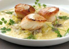 Recept voor Sint-Jakobsschelpen met groenten en blanke botersaus | Solo Open Kitchen